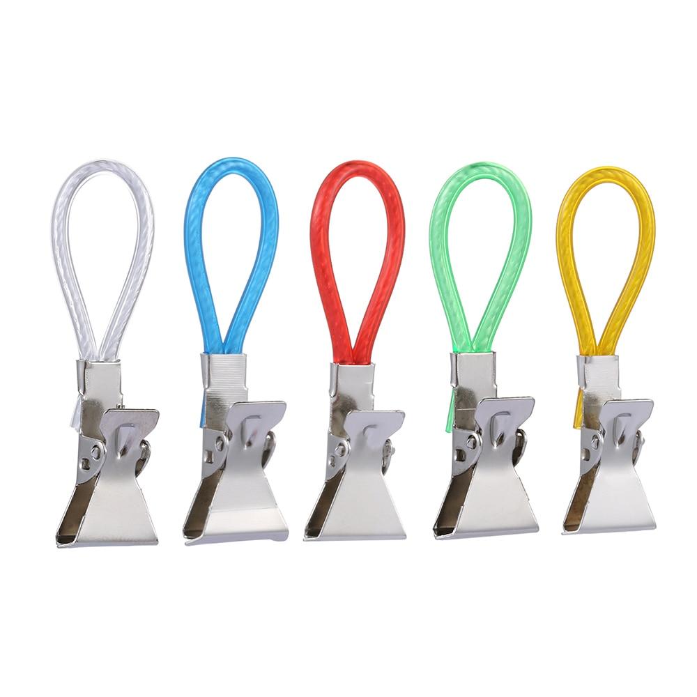 5PCS/Set Portable Tea Towel Hanging Clips Travel Kitchen Bathroom Hangers Storage Rack Holder Clip Metal Hooks