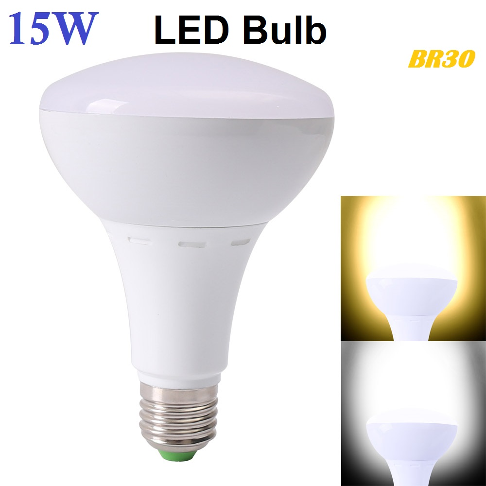 15W BR30 E27 AC85~265V SMD3030 LED RGB Bulb Light Spotlight LED Lamp White/Warm White High Brightness Free Shipping kinfire circular 6w 420lm 6500k 30 x smd 3528 led white light ceiling lamp w driver ac 85 265v