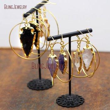 Tribal Gypsy Gold Hoop Earrings Rose Quartzs Amethysts Black Onyxs Arrowhead Earrings ER8914