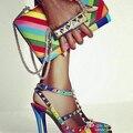 Женщины радуга многоцветный высокий каблук насос радуга цвет марка же дизайн женские острым носом заклепки Т-s ловушку сандалии новая мода