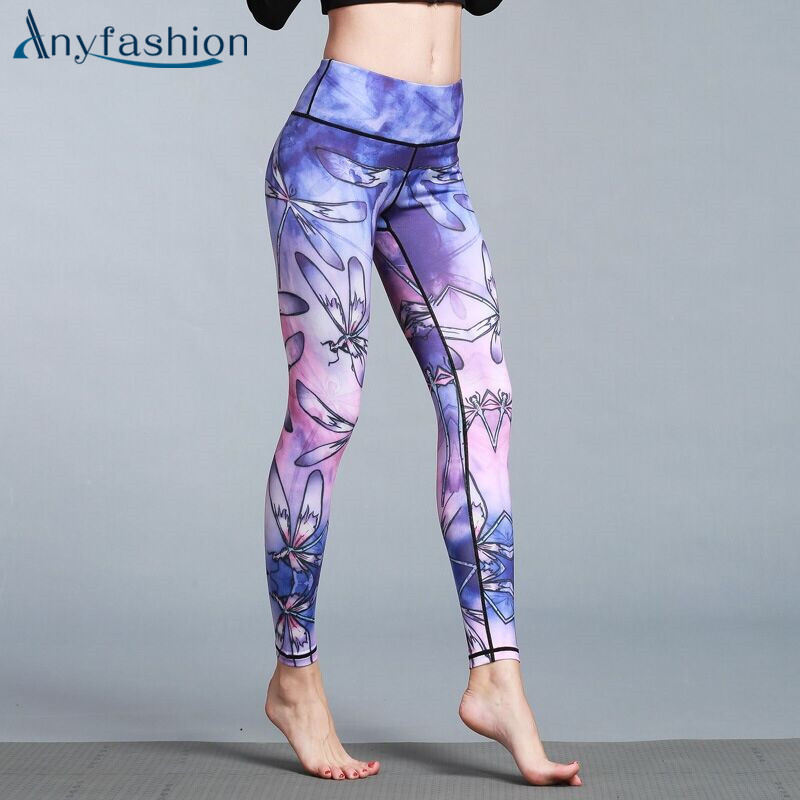 Anyfashion Fitness Yoga Pants Sports Sexy Elastic Waist Stretched Gym Clothes Printed Running Tights Women Leggings Sportswear