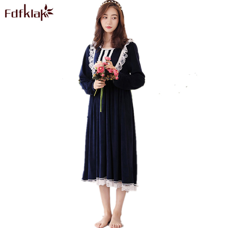 Fdfklak High Quality Spring Autumn Long Sleeve   Nightgown   Princess Women Lace Nightwear   Nightgowns     Sleepshirts   Night Dress Q651