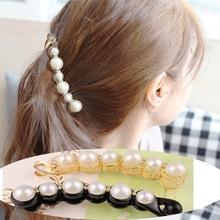 M optimism 1 girl pearl banana hairpin ponytail twist clip hairpin Korean style elegant female teeth hairpin hair accessories цена
