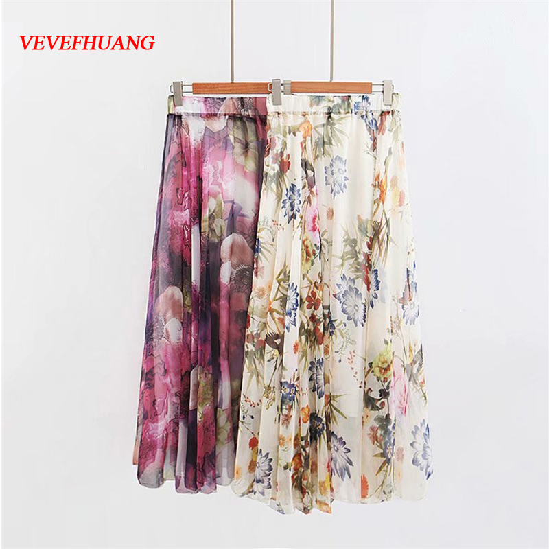 New Summer Female Boho Long Skirts Chiffon Women Vintage High Waist Print Pleated Plus Size Comfortable Tall Feminine Clothing