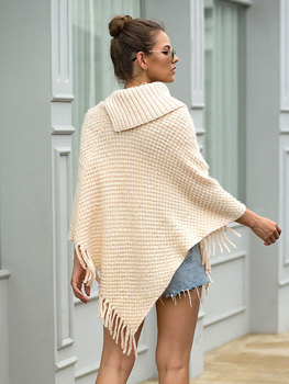 HEE GRAND New Women Wraps 2019 Fashion Tassels Cloaks Autumn Half Sleeve Knitted Pullovers Turn Down Collar Sweaters WZL1502 2