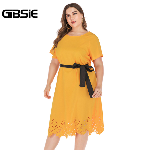 GIBSIE Plus Size Casual Solid Round Neck Short Sleeve Midi Dresses Summer Women Tunic Belted Hollow out Straight Dress 5