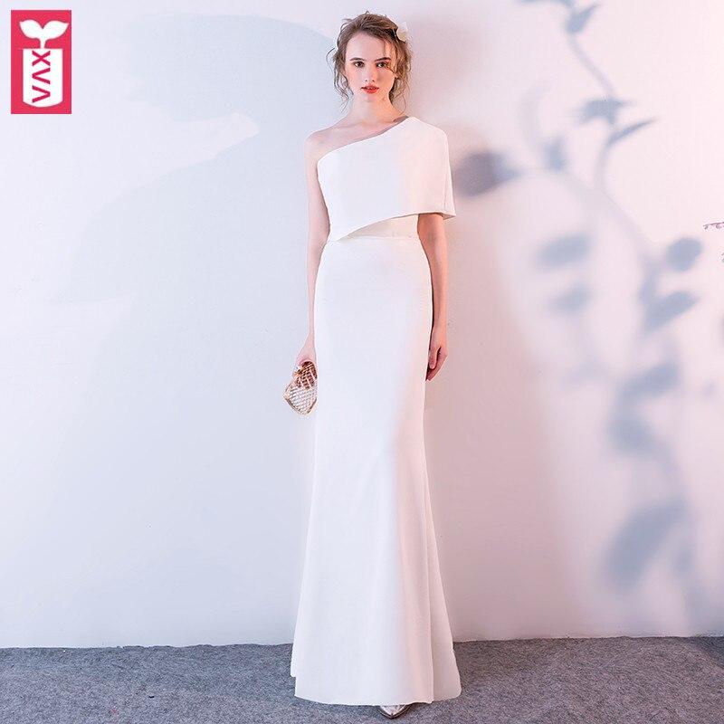 XVA luxe blanc mariage Banquet fête formelle Maxi longue robe femmes taille haute une épaule côté Split étage longueur robe