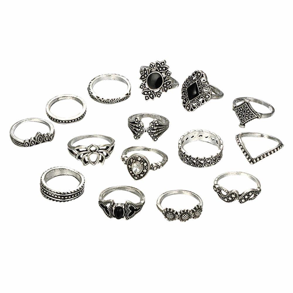 Zerotime #501 2019 moda 15 sztuk/zestaw kobiety czeski Vintage srebrne pierścionki do łączenia powyżej Knuckle niebieskie pierścionki zestaw luksusowe darmowa wysyłka