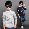 Toddler Boys New Korean Style Autumn Embroidered Butterfly Solid Grey/Dark Blue Knitted Long Sleeve Fashion Sweater