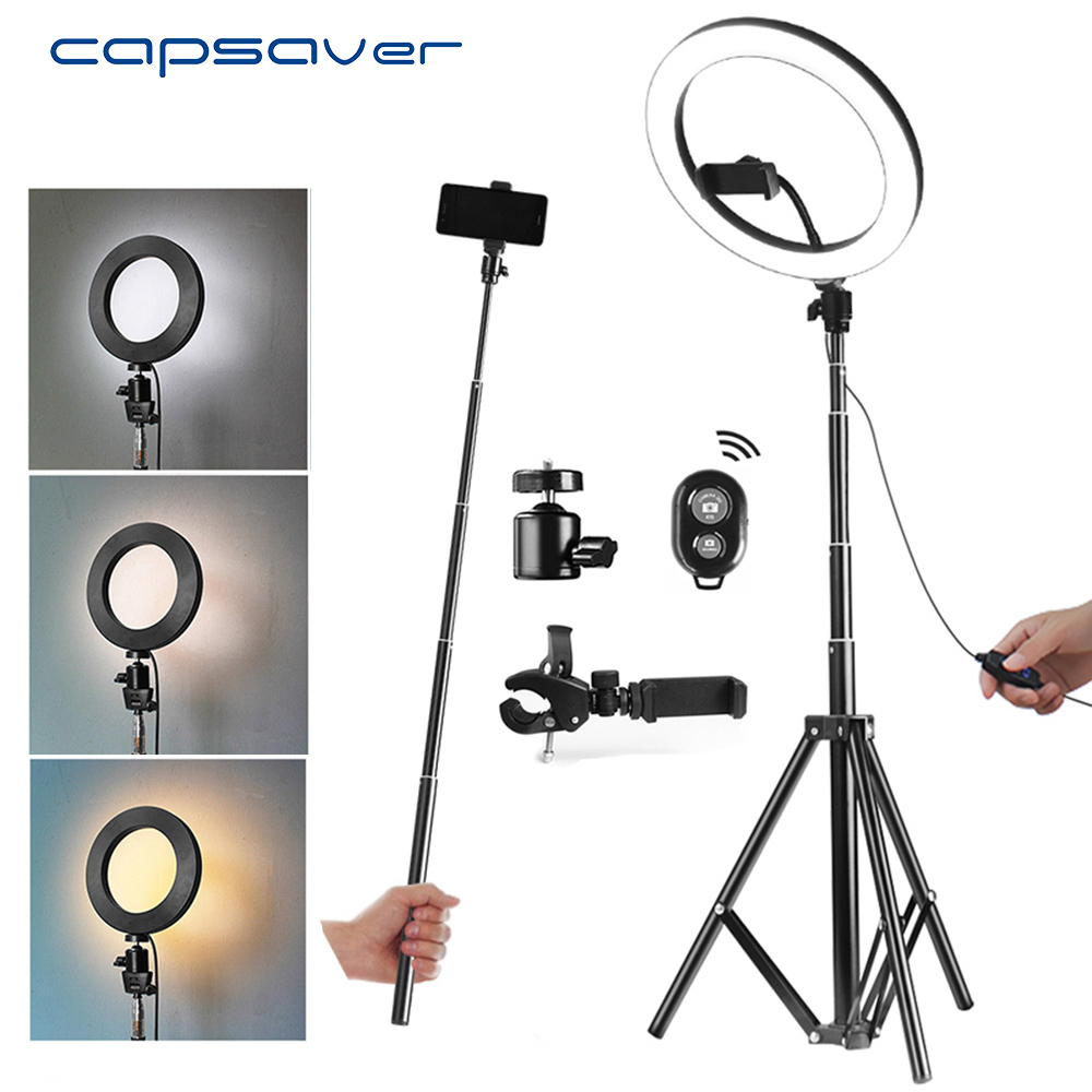 capsaver 10 USB Ring Lamps Video Light with Tripod Phone Holder 64 LEDs Ring Light for