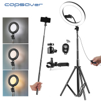 capsaver 10 USB Ring Lamps Video Light with Tripod Phone Holder 64 LEDs Ring Light for Photography Shoot 2700K/5500K Dimmable