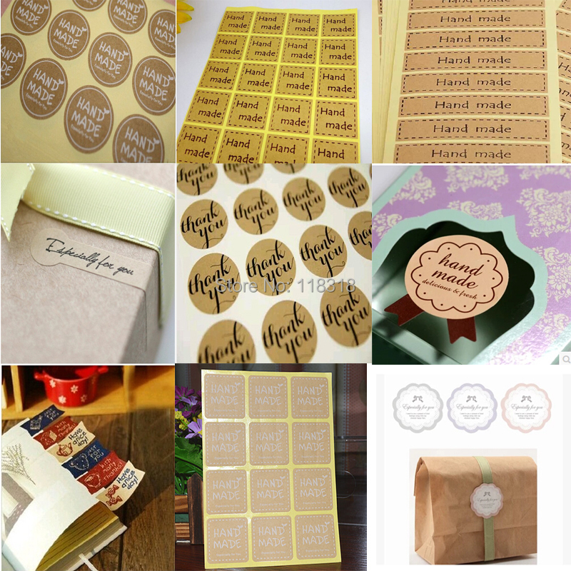 (24 Styles) 10 Sheets/Pack DIY Scrapbooking Sealing Stickers Kraft Paper Labels Hand...