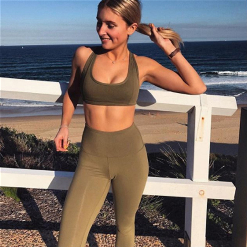 c7fe3a0c46 Quick Dry sportswear Gym Leggings Female T shirt Costume Fitness Tights  Sport Suit Green Top Yoga Set Women s Tracksuit-in Yoga Sets from Sports ...