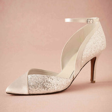 Real White Dress Pumps Ankle Strap Thin High Heels Shoes For Women Pointed Toe Pump Wrap Heel Glitter Custom Made Wedding Shoes