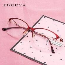 المعادن نظارات نسائية موضة واضحة صغيرة الحجم أنيقة فاخرة البصرية البيضاوي النساء النظارات الإطار # IP273