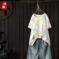 2018 New Cotton And Linen Vintage Style O Neck Floral Female Spring And Summer Short Sleeve