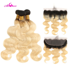 Ali Coco Brazilian Body Wave 1B/613 Lace Frontal With Bundle 2/3 Bundles With Frontal 10-30 Inch Remy Hair With Lace Frontal