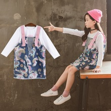 Summer Dress Toddlers Girls Suits Kids Top Shirt+Bib Pants Outfit Children Sets 2PCS Clothes New for 3 6 8 10 12 14 years