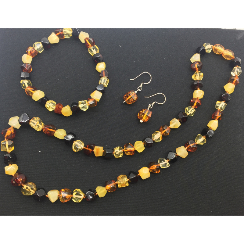 Yoowei Original Amber Jewelry Baltic Natural Amber Boutique Natural Multi Faceted Bead Necklace Bracelet Earrings Factory Jewel