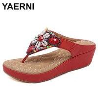 YAERNI Flip flops woman summer clip toe sandals beach shoes women brand design wedges sandals breathable sandalias E698
