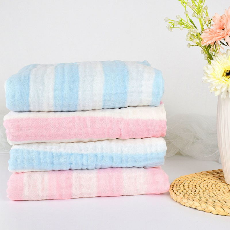 330g 6 layers Muslin 100% Cotton Yarn-dyed Corrugate Baby Blanket Newborn Soft Baby Blankets Swaddle Baby Bedding Bath Towels