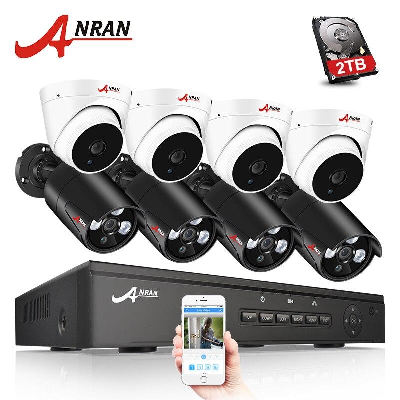 ANRAN 8CH CCTV System 48V POE NVR 2MP 8CH Security video Surveillance Kit CCTV DVR 8PCS CCTV Outdoor Camera Surveillance System
