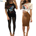 HAOYUAN Fashion Summer T Shirt Women 2017 Eagle Printed Off The Shoulder Tops For Womens 2 Colors Blusas Woman Tee Shirt Femme