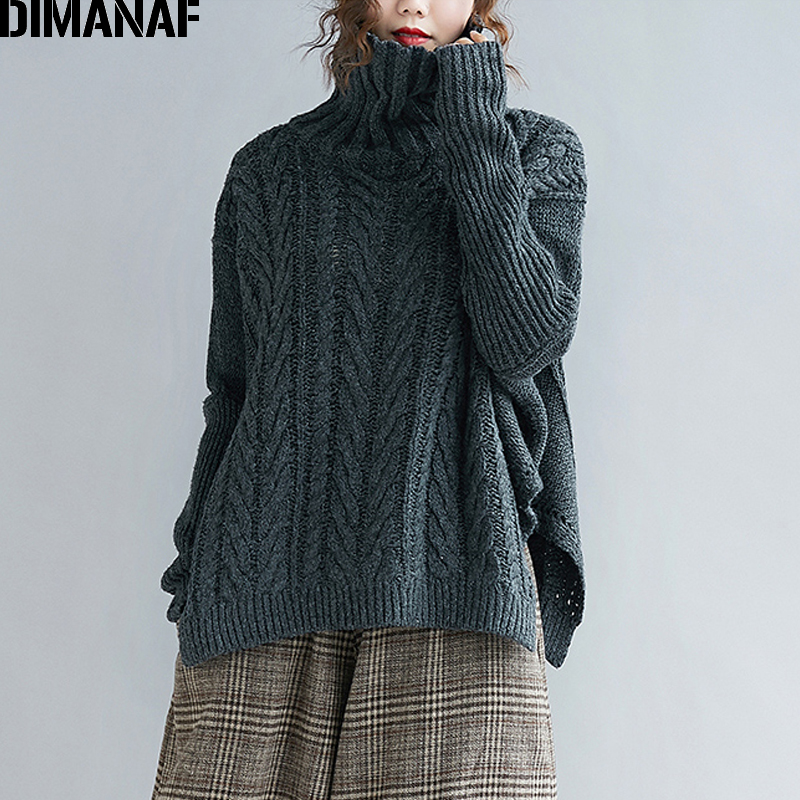 DIMANAF Women Sweater Winter Knitting Wool Thick Plus Size Turtleneck Female Lady Basic Pullovers Striped Casual Clothing 2019