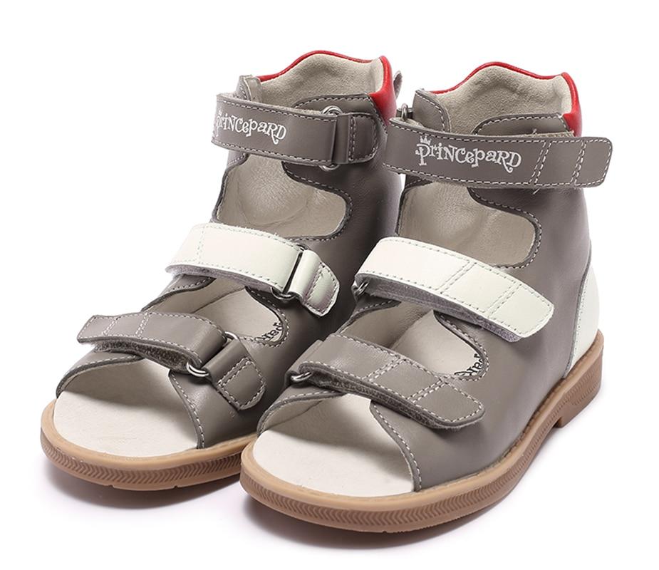 Princepard marque nouveau enfants chaussures d'été crochet boucle fermé orteil bambin filles sandales orthopédique sport en cuir véritable bébé filles - 3