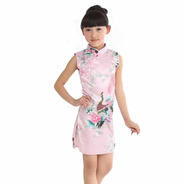 abd6ed8666ab Kid Little Girls Vintage Floral Dress Summer Chinese Traditional national  Costume Sleeveless Cheongsam Children's Clothing Rose