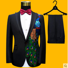 2016 Hot Custom made Men's Suits  Black applique Groom Tuxedos Performance clothing Wedding Party Prom Blazer (Jacket+Pants)