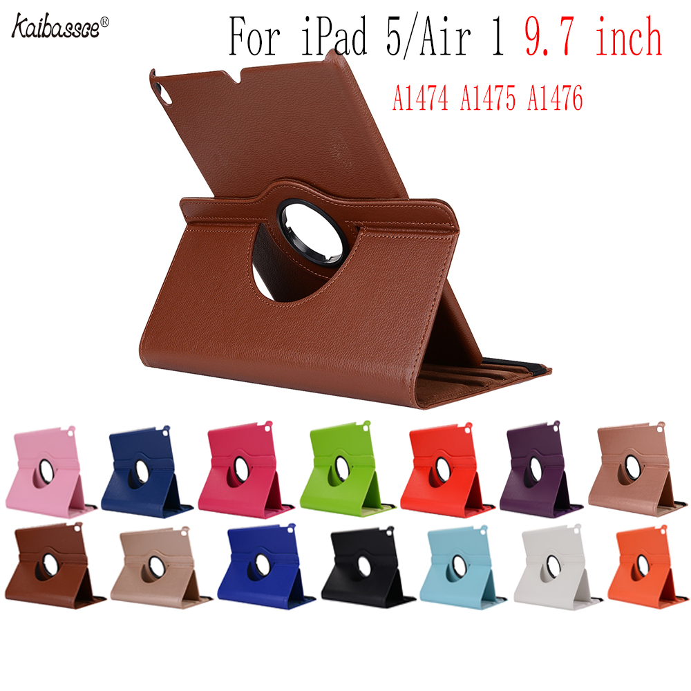 Kaibassce 360 Diploma Rotating Pebbled Leather-based Flip Sensible Case For Ipad Air 1 Ipad 5 9.7 Inches A1474 A1475 A1476