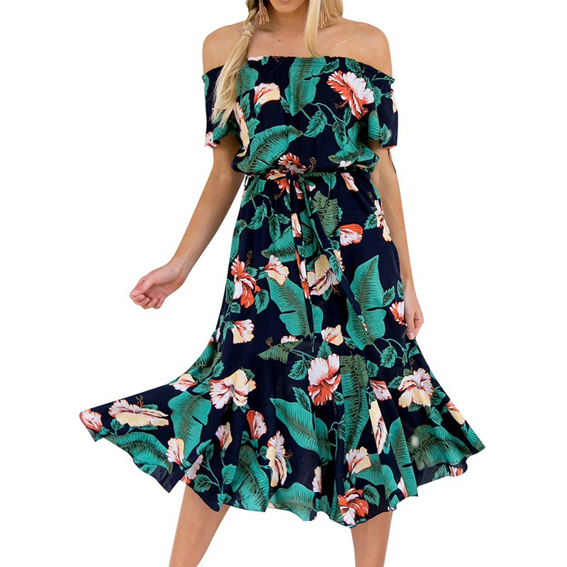 ROPALIA Summer Floral Print Drapped Boho Dess Women Slash Neck Shoulder Off Beach Dress Empire Waist Knee Length Vestidos T7