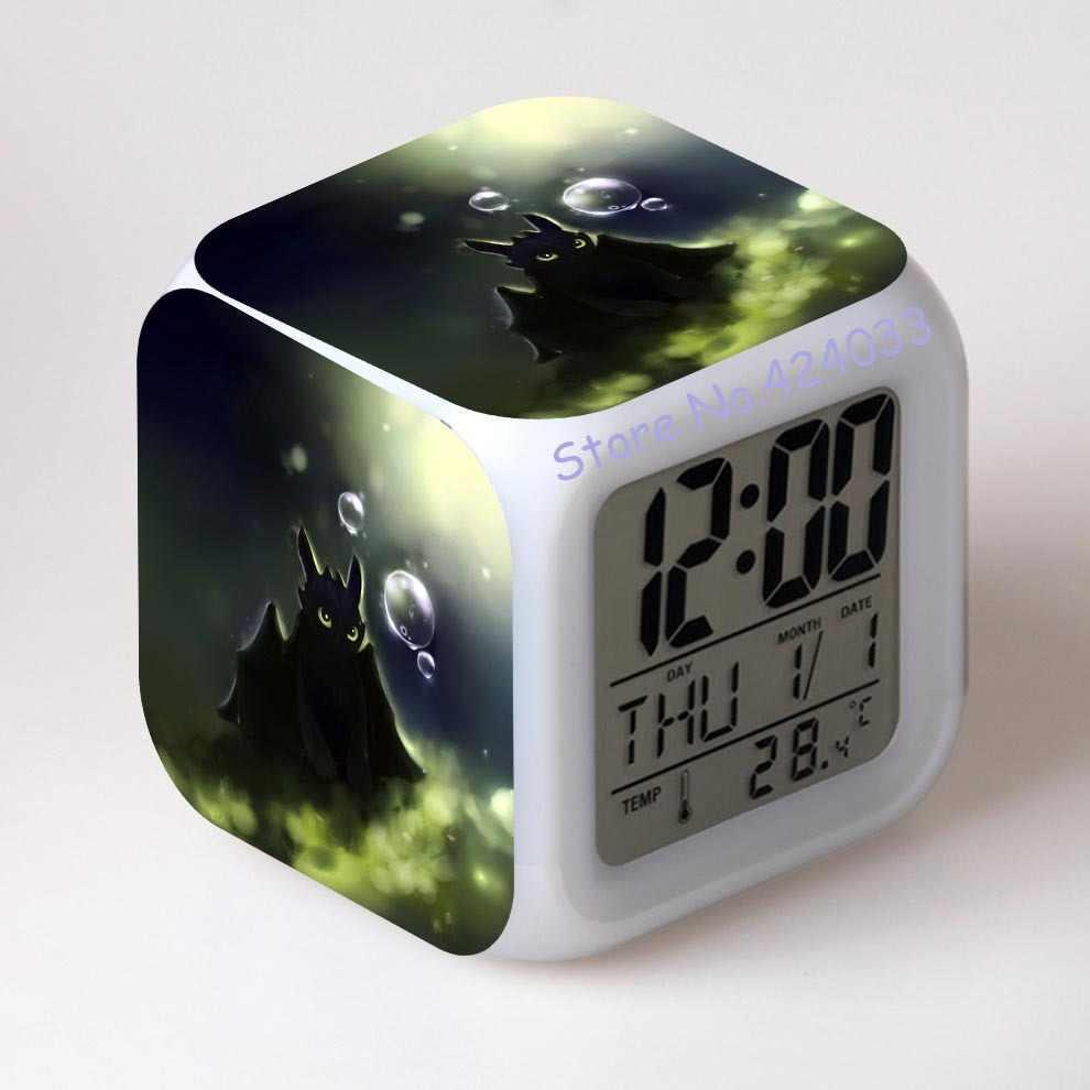 Como treinar O Seu Dragão 2 Toque Luzes Dora Relógio 7 LED das Luzes de Natal Desdentado Despertadores Crianças Hot Anime