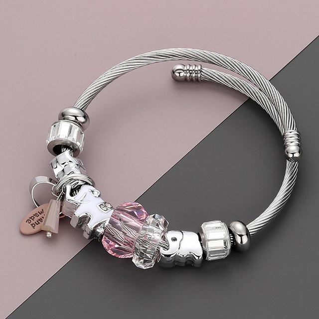 RAVIMOUR DIY Bracelets Bangles Women Jewelry Fashion Elephant Cuff Bracelet Femme Acrylic Bead Steel Chain Pulseiras Bijoux 2018