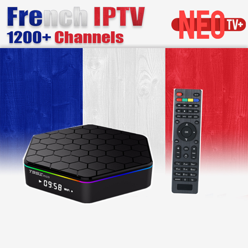 T95Z Plus French Arabic Beligum IPTV NEOTV 1 Year 1200+Subscription Amlogic S912 2G/16G H.265 WiFi 4K Free Android 6.0 TV Box