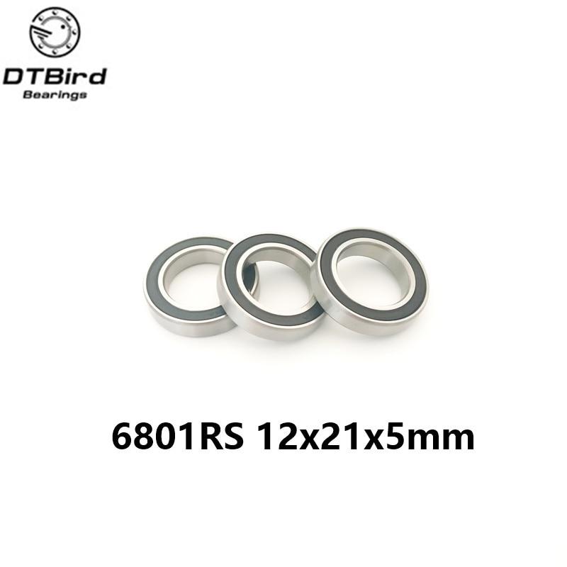 6801rs Hybrid Ceramic Bearing 12x21x5 mm 1 PC  Bicycle Bottom Brackets & Spares 6801RS Si3N4 Ball Bearings кий для пула cuetec 1 рс черный 21 076 57 5