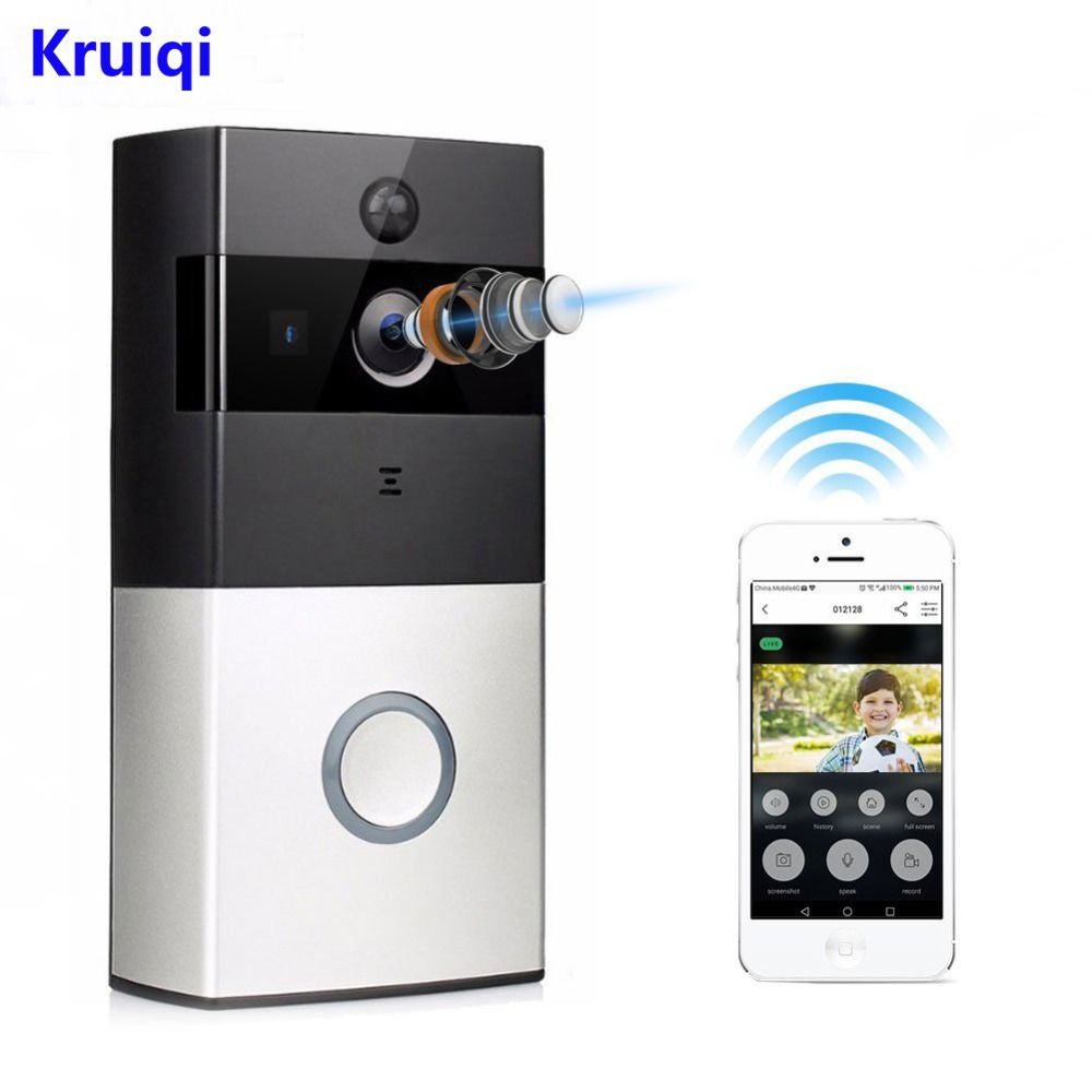 Kruiqi Wireless Intercom Doorbell Video Camera WiFi IP 720P PIR Alarm IR Night Vision Two Way Audio Home Security Camera