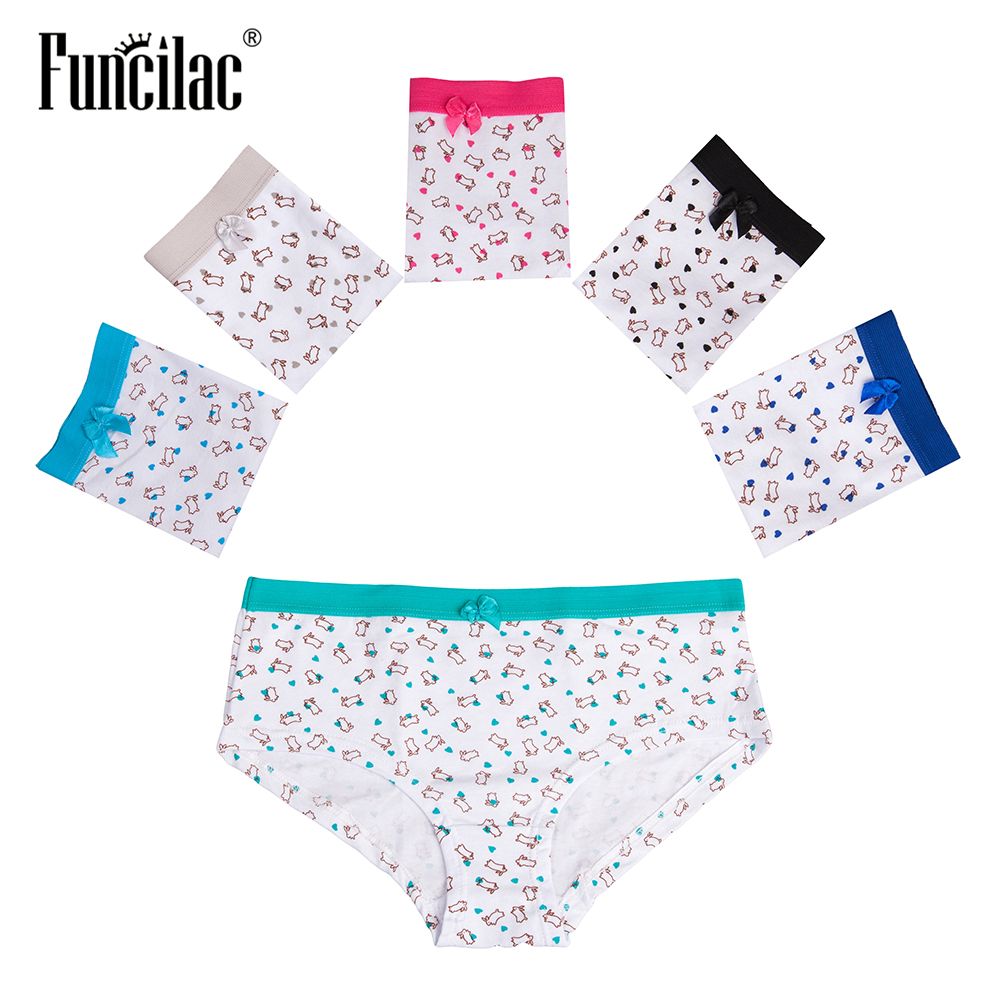 FUNCILAC Underwear Women Bunny Print   Panties   For Women Female Underwear Sexy Underpants Briefs For Women Lingerie 5Pcs/Lot