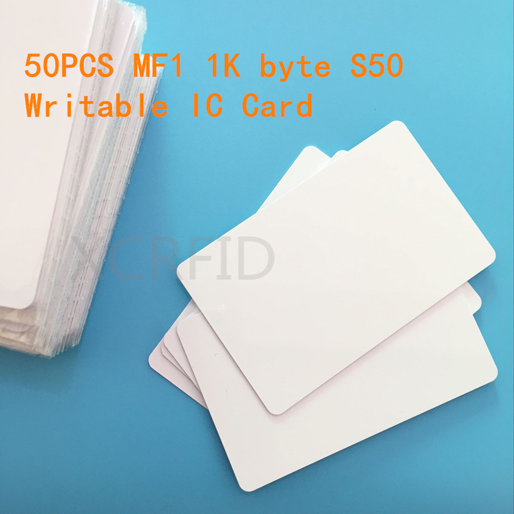 RFID MF1 S50 1k Byte Writable 13.56mhz Smart IC Card For ACR122 Read Write Hotel Switch Power 50PCS/PACK short byte int java