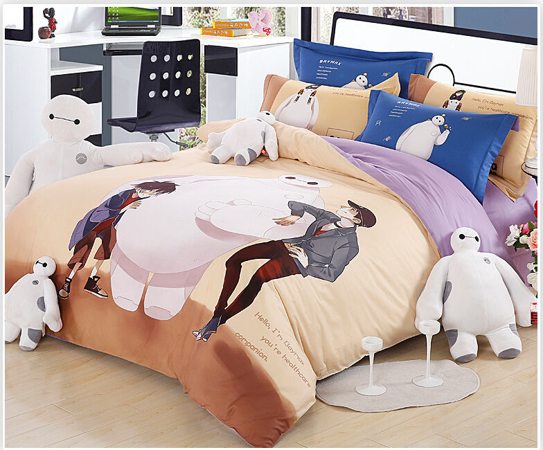 100  Organic Cotton Bed Linen Big Hero Baymax Bedding Set Anime Bed Sheets  Bedspread Kids Bedding Queen Size in Bedding Sets from Home   Garden on. Factory Direct  100  Organic Cotton Bed Linen Big Hero Baymax