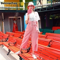 2019 summer womens jumpsuits wide leg overalls denim pink dungarees rompers sleeveless adjustable strap button pants
