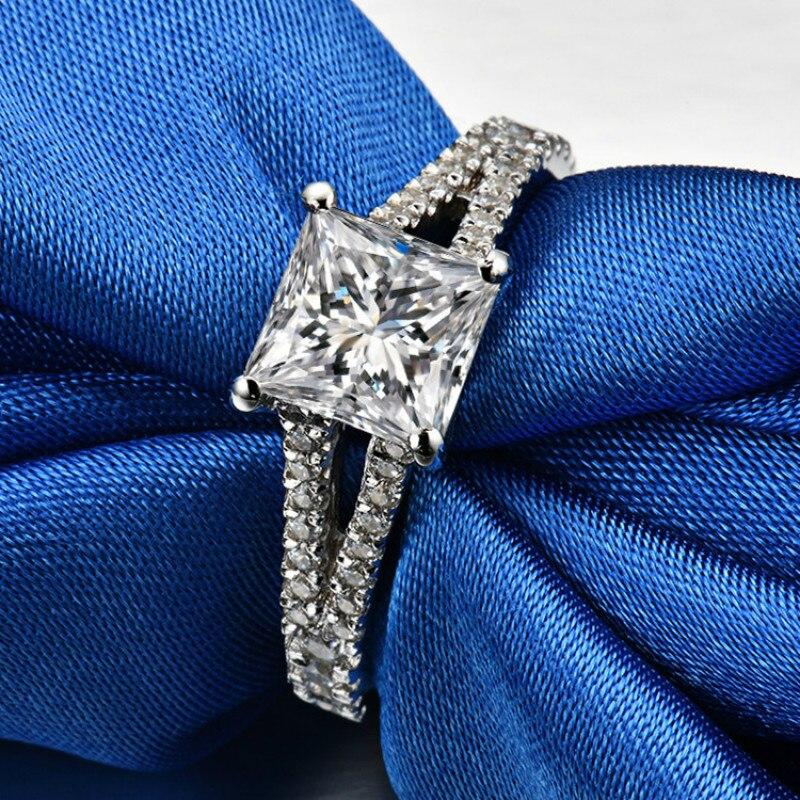 1.5ct Carat carré AAAAA haute qualité Sona CZ bagues de fiançailles pour femmes S925 argent quatre griffes princesse anneaux bijoux féminins