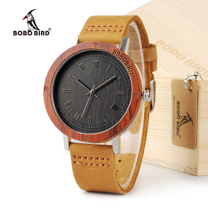 BOBO BIRD K06 Roma Dial Men Watches With Rose Wooden Unique Quartz Watch With Gift Box