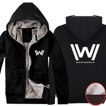 TV Series Westworld Season 1 Logo Super Warm Winter Fleece Super Warm Black Cotton Coat Hoodies Sweatshirts