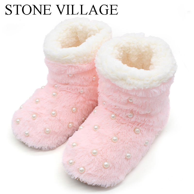 Women Winter Home Slippers Pearl Soft Plush Cotton Shoes Casual Solid Non-slip Indoor Wooden Slippers Silent Woman Shoes