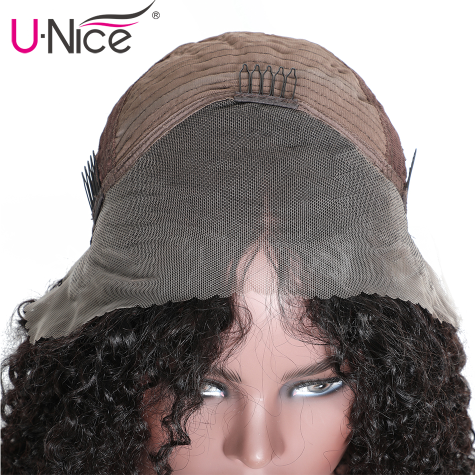 Unice Hair 13 4 Curly Lace Front Human Hair Wigs Brazilian Remy Hair Short Curly Bob Unice Hair 13*4 Curly Lace Front Human Hair Wigs Brazilian Remy Hair Short Curly Bob Wigs For Black Women Pre-Plucked Wig