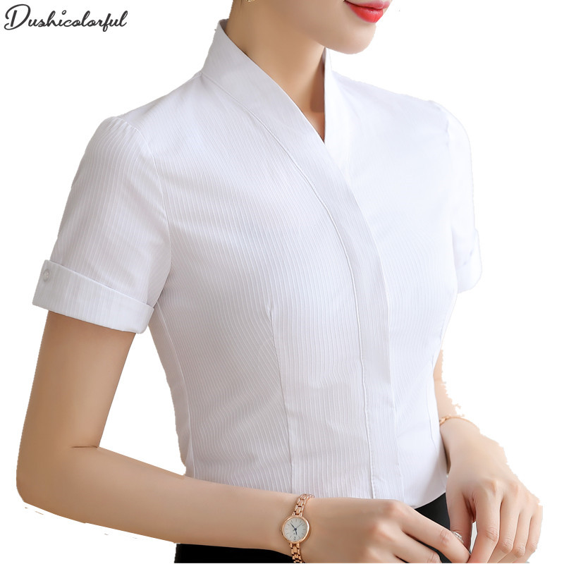 Summer Short Sleeve Women's Tops 4XL XxxxL Fashion Office Lady White Elegant Shirt Women V-Neck Blouse  Dushicolorful