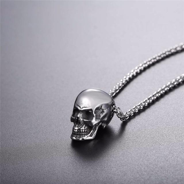 U7 Halloween Gioielli Collana Del Cranio Dell'acciaio inossidabile Gothic Biker Pendant & Chain Per Gli Uomini/Donne Regalo Punk Oro/Colore nero P1133