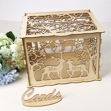 DIY Wedding Gift Card Box Wooden Money Wood for Playing Cards Birthday Decoration Supplies